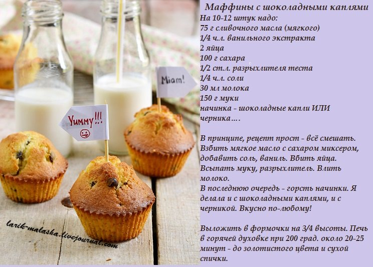Кексы с шоколадными каплями рецепт
