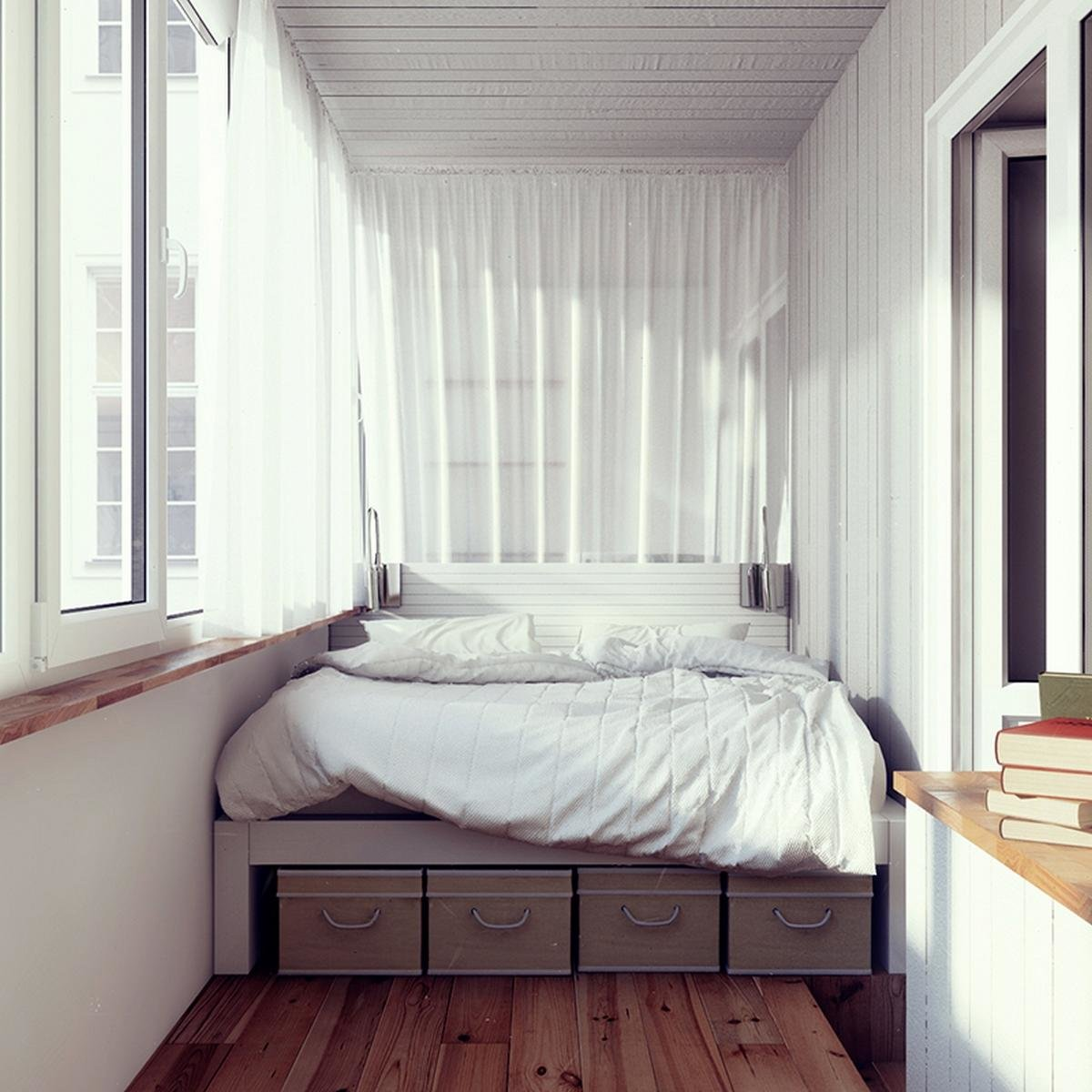 Спальня на балконе - идеи дизайна помещения.