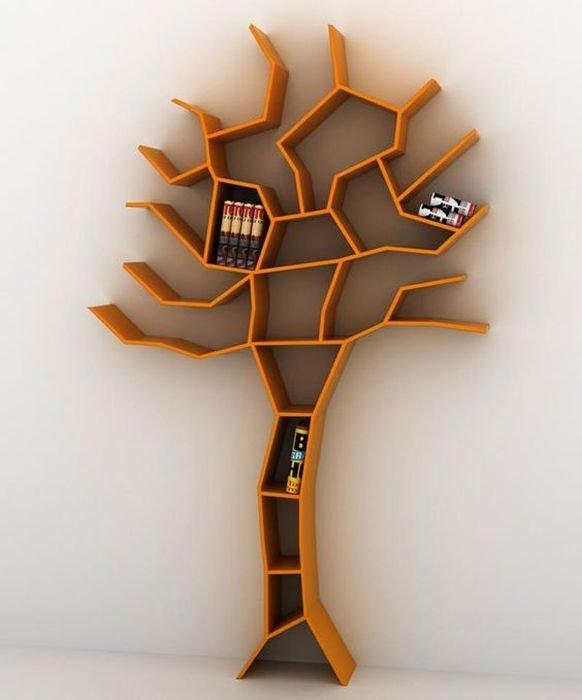людям книжная полка в виде дерева несколько вариантов