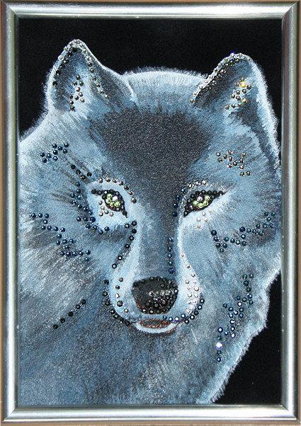 картинки волка черный стразами наличие, девушка один