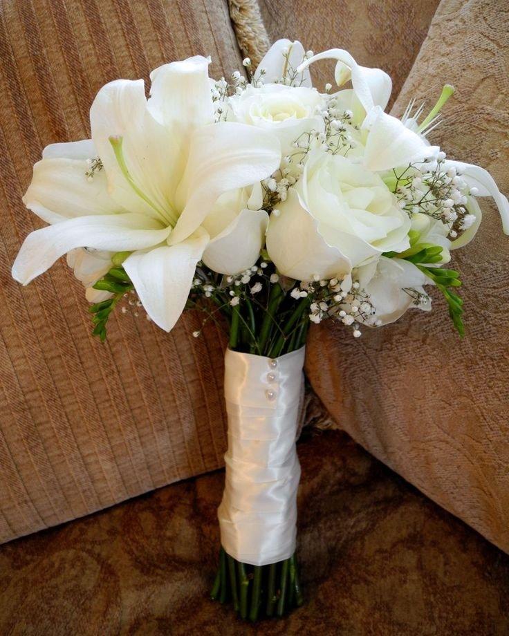Букет, свадебные букеты лилии с розами