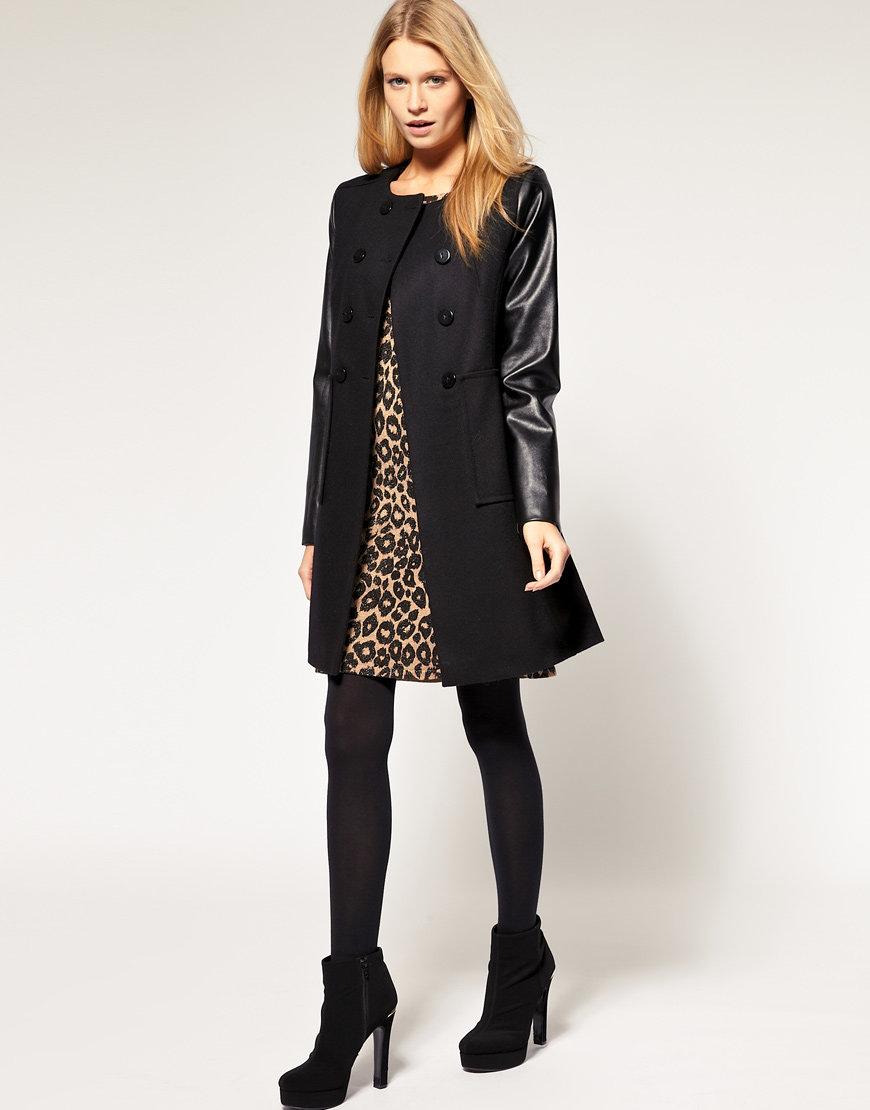 картинки пальто с кожаными рукавами себя