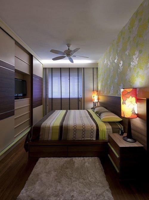 Дизайн узкой спальни  узкой длинной комнаты в хрущевке