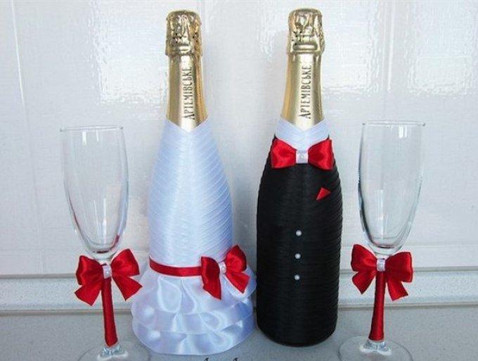 Украсить бутылку шампанского на свадьбу своими руками фото