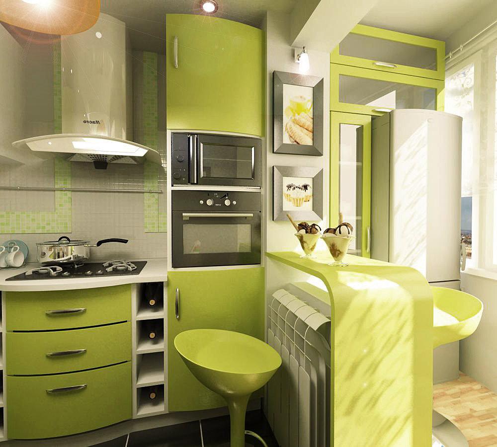 """Кухня совмещенная с балконом в зеленом"""" - карточка пользоват."""
