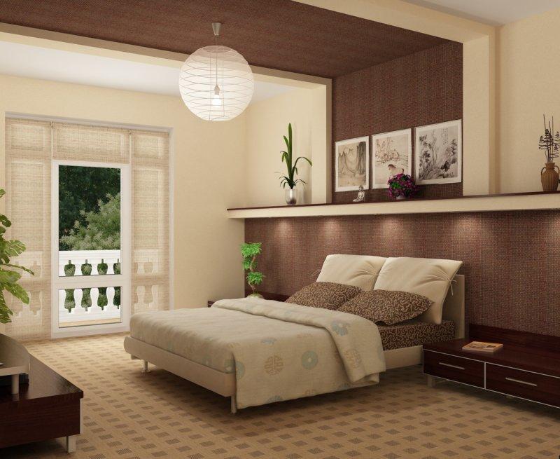 Спальня в спокойно-коричневых тонах