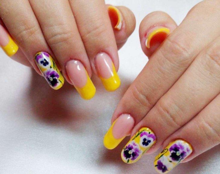 Жёлто фиолетовый маникюр фото