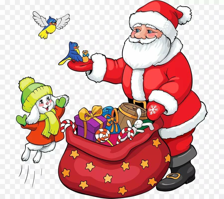 Картинка дед мороз с подарками на прозрачном фоне