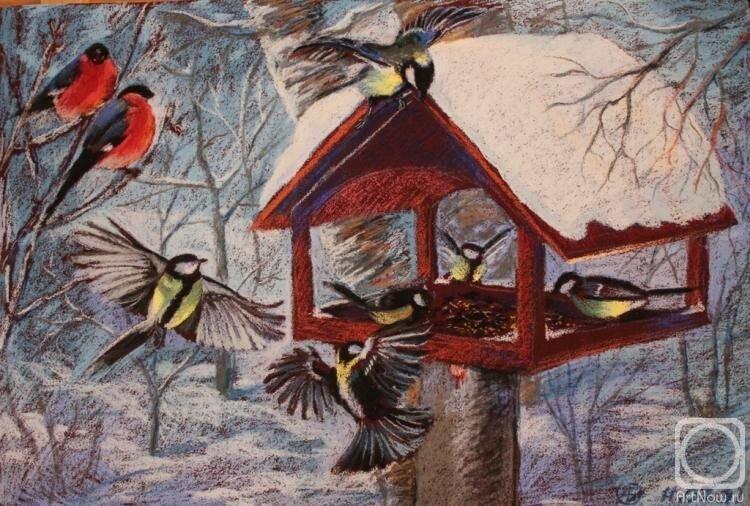 Картинка зимующие птицы у кормушки для детей