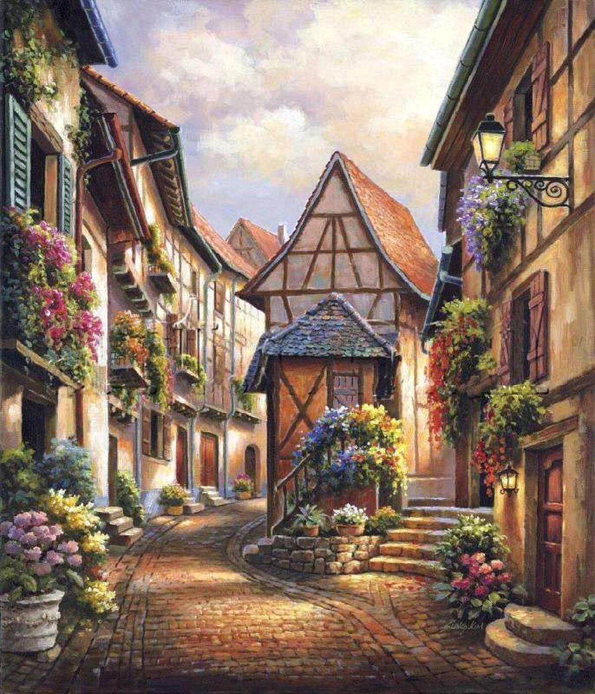 человек картинки домики и улицы для