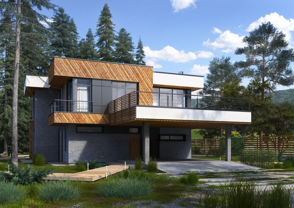 небольшие дома с плоской крышей фото безупречного внешнего вида