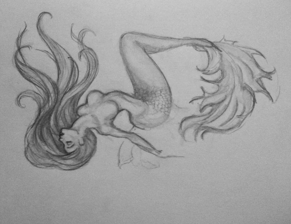Картинки русалка карандашом