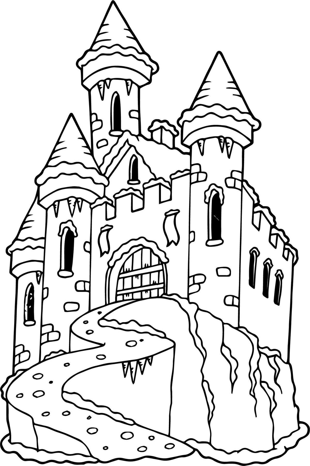Раскраска замок для детей с цветами