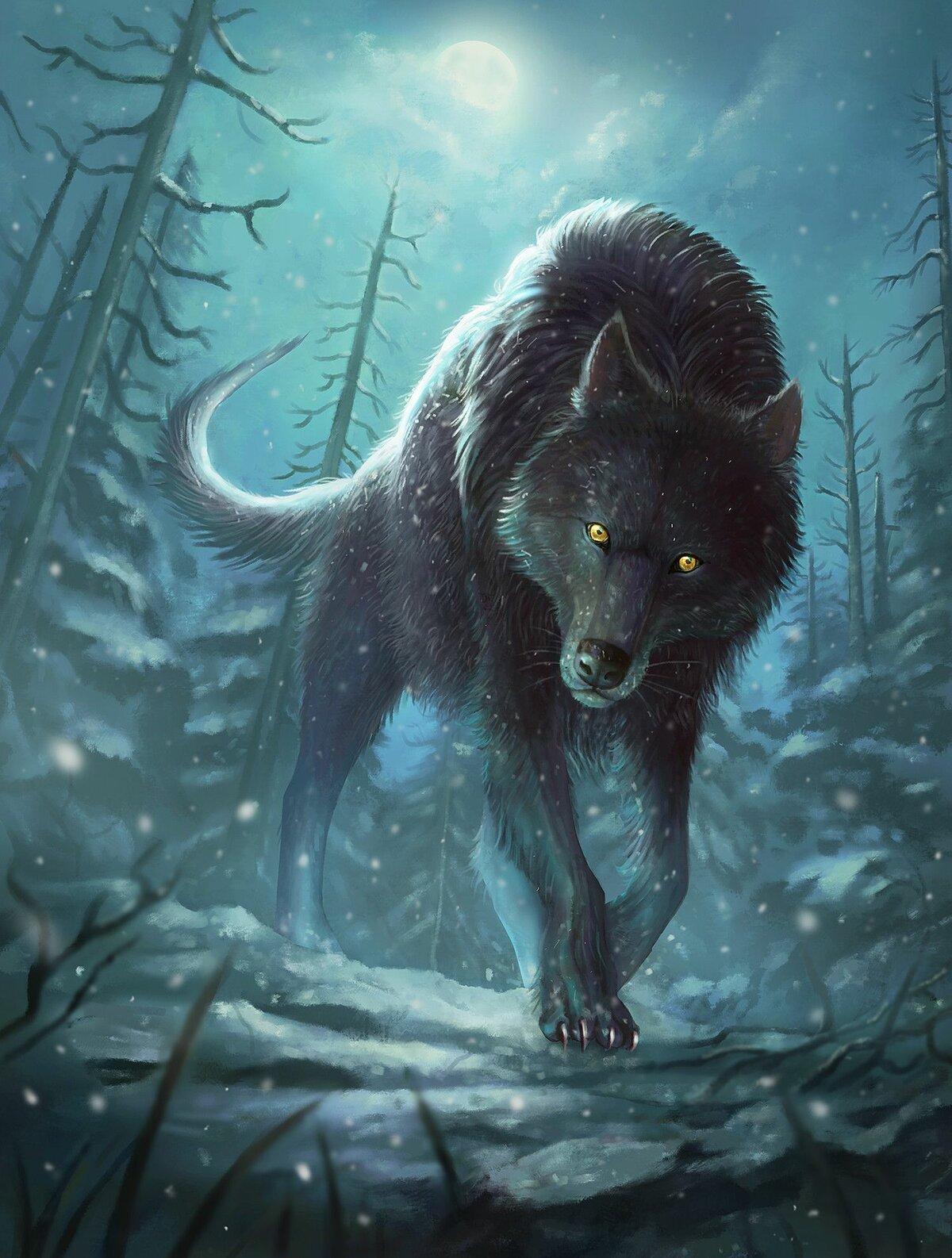 Мистические картинки волков