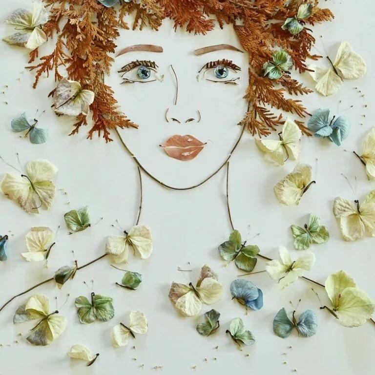 Картинка лицо девочки из листьев