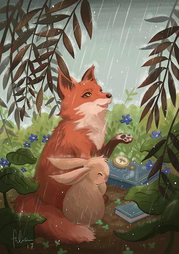 картинка лиса и кролик в лесу правильном