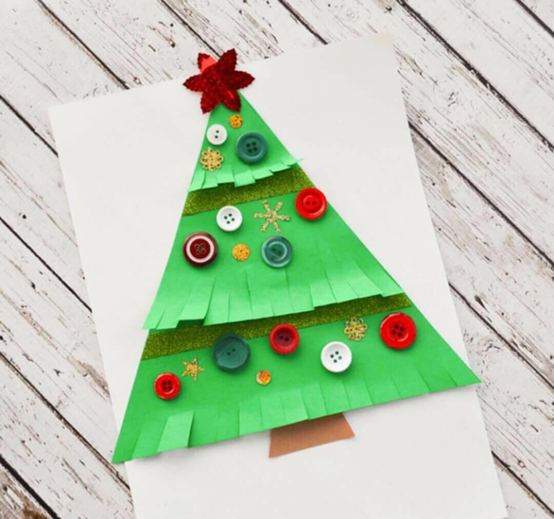 Открытка рождественская елочка