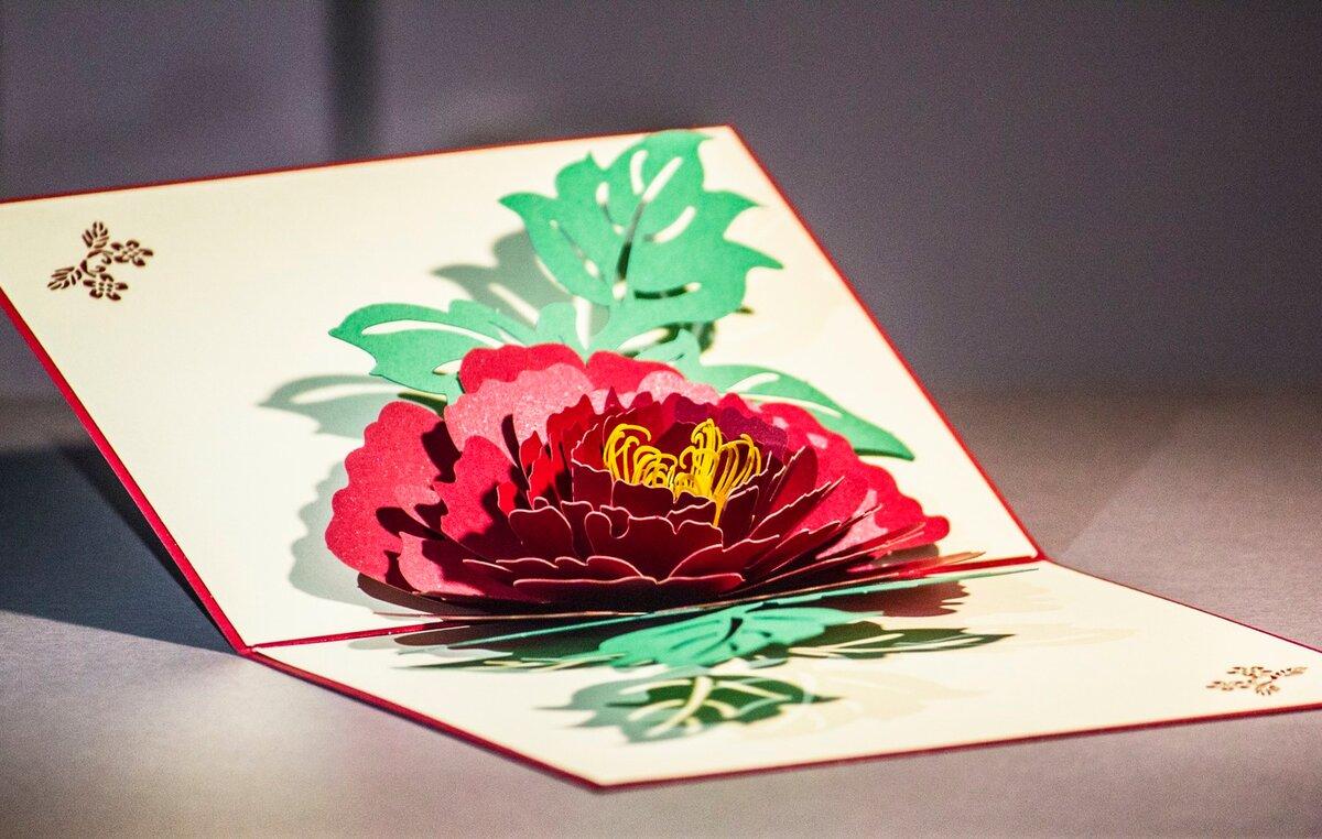 Как сделать открытку внутри которой цветы