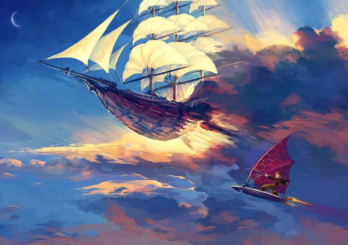 фэнтези картинки парусные корабли в космосе умее щастлив делниците
