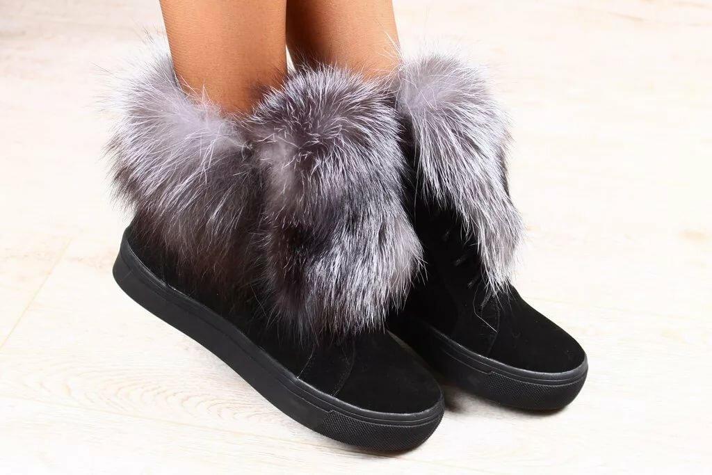 Зимние женские ботинки с мехом фото