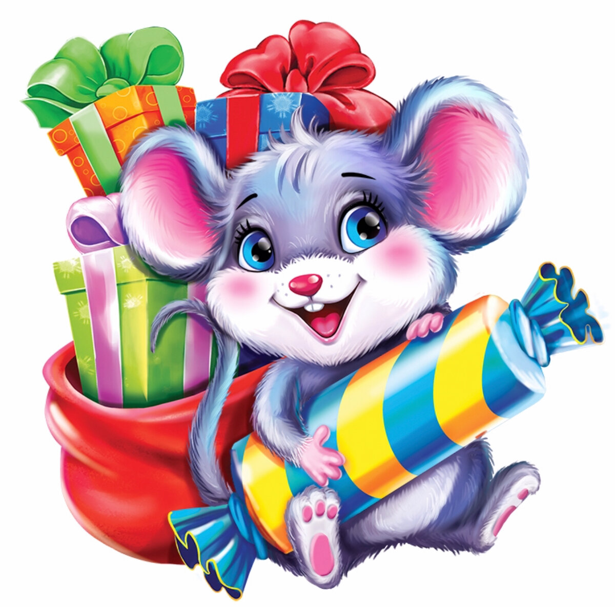 картинки мультяшная мышь с подарком