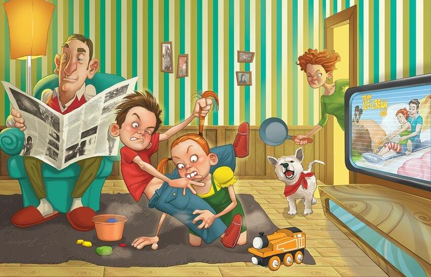 Счастливая семья картинки смешные