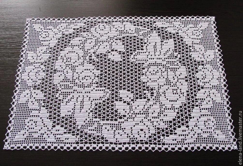 филейное вязание салфетка с картинкой вместо диода