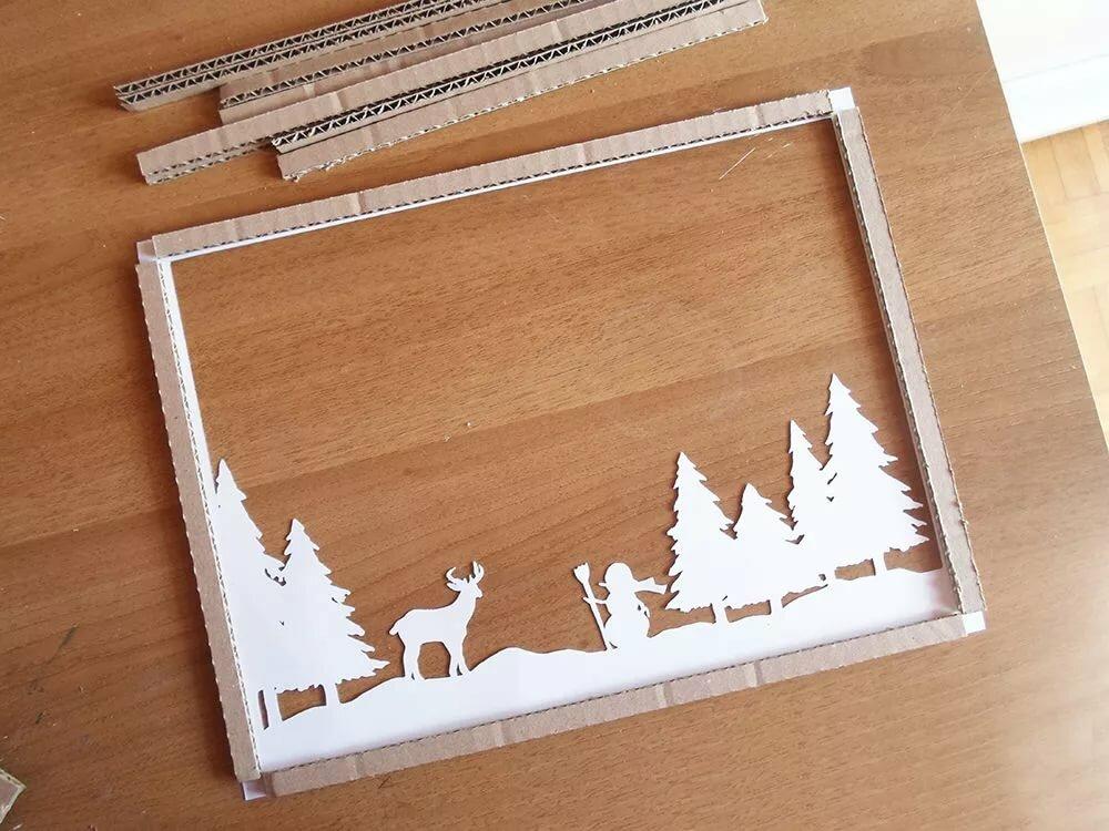 рождественская открытка своими руками в рамке