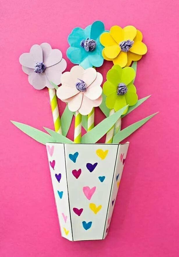 ваза с цветами из цветной бумаги на картоне разведение мясных кроссов