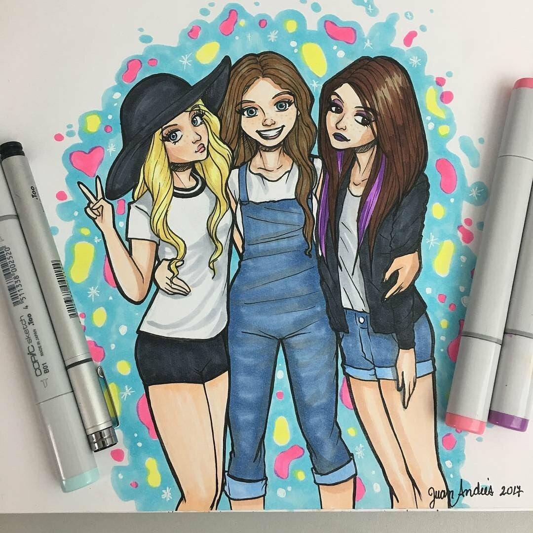 картинки трех подруг карандашом