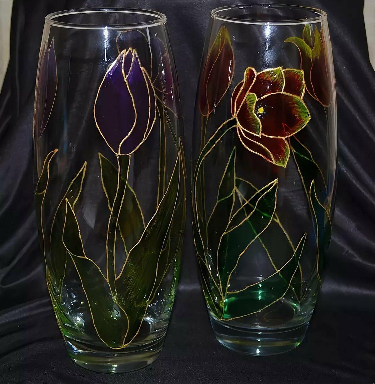 картинки по стеклу на вазочке разновидности