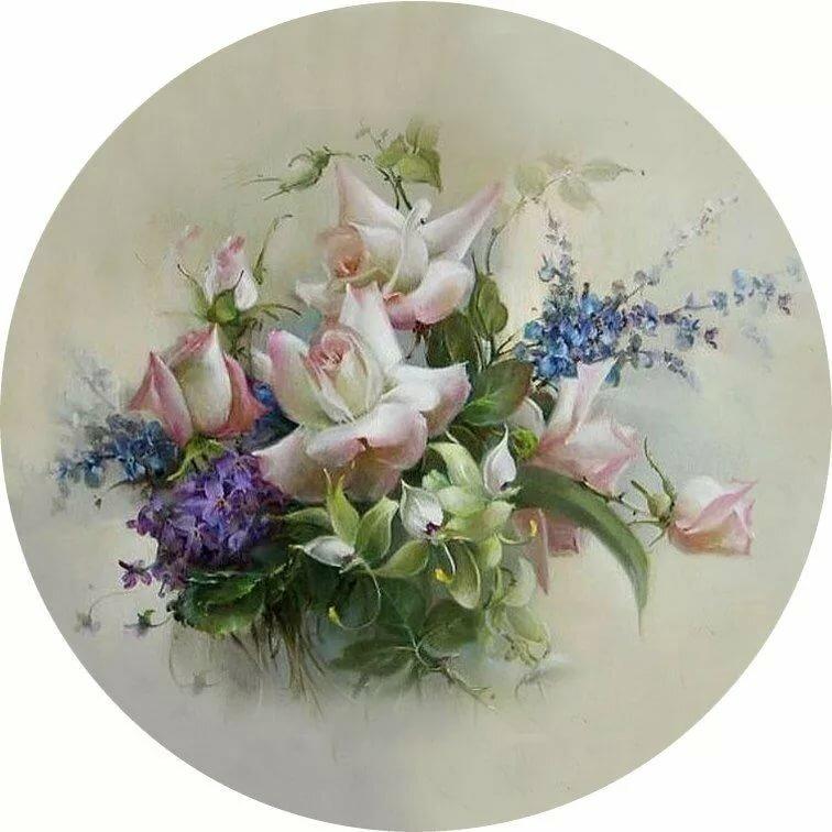 Круглые картинки цветов для декупажа