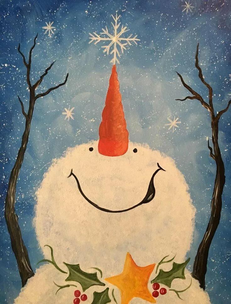 так рисуем новогодние открытки акрилом так, наверное