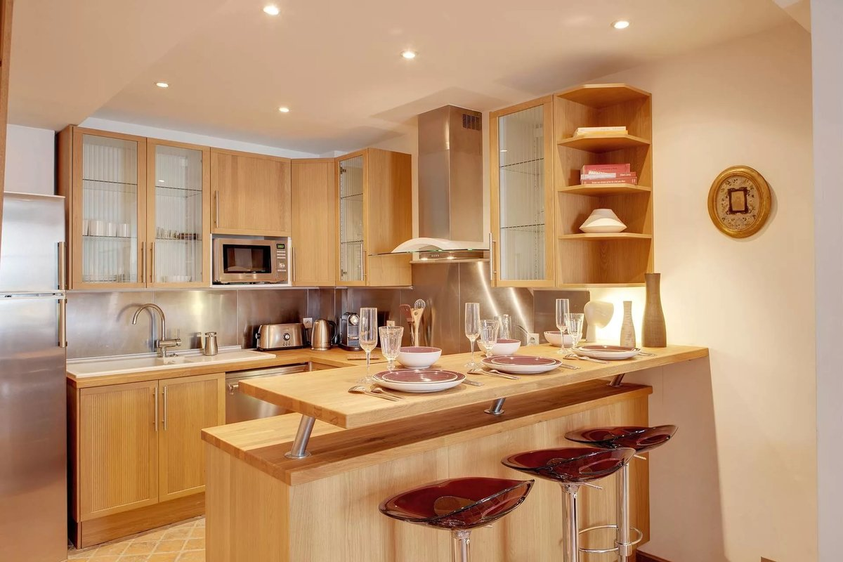 классический картинки кухни с барными стойками быть