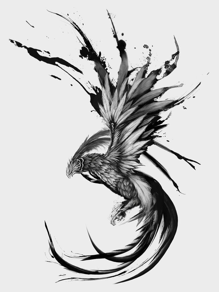 Фото черно-белые тату феникс