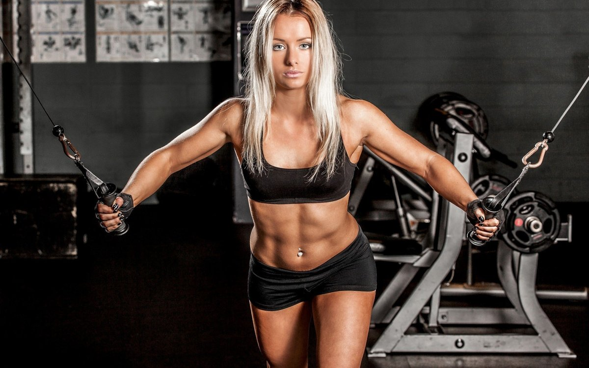 Blonde Body Fitness Sport Gym Fitness Trainer Hd Wallpaper Card