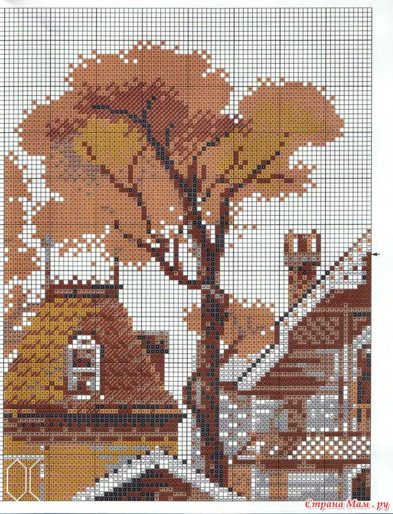 Схема вышивки дерева.
