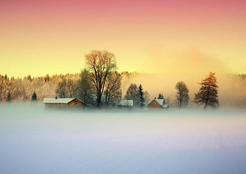 туман и домики