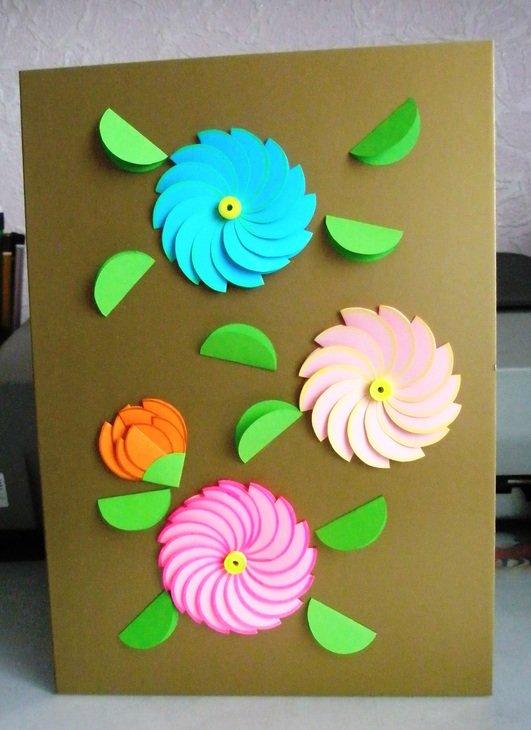 День рождения, открытка с объемной аппликацией цветок