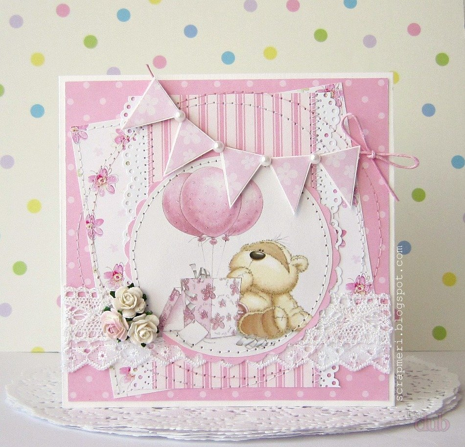 Скрап открытка с днем рождения детские, гофрированной бумаги