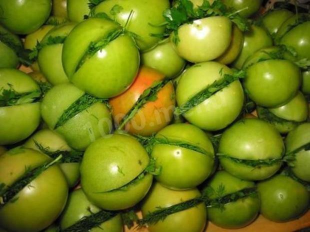 Квашеные зеленые помидоры с чесноком на зиму рецепт с фото