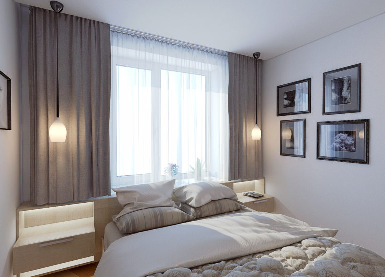 Спальня с подиумом у окна