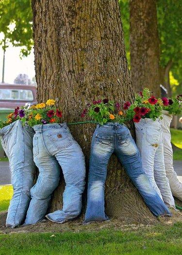 кашпо из джинс для сада