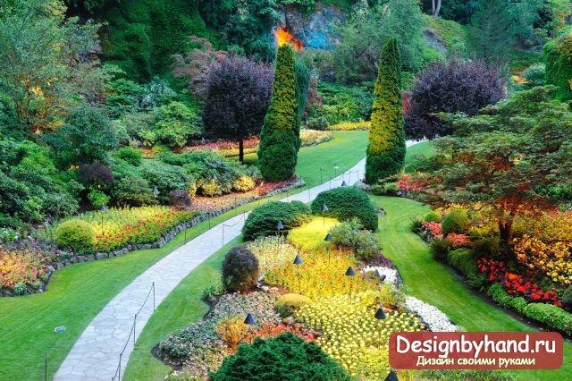 Яркий и красочный дизайн ладшафта.