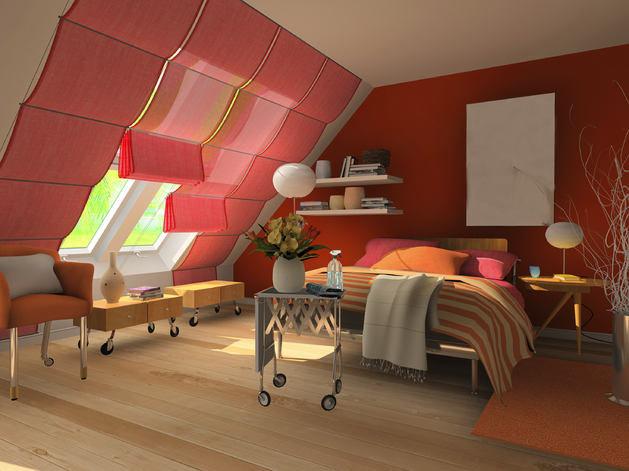 Складные шторы для современной мансарды