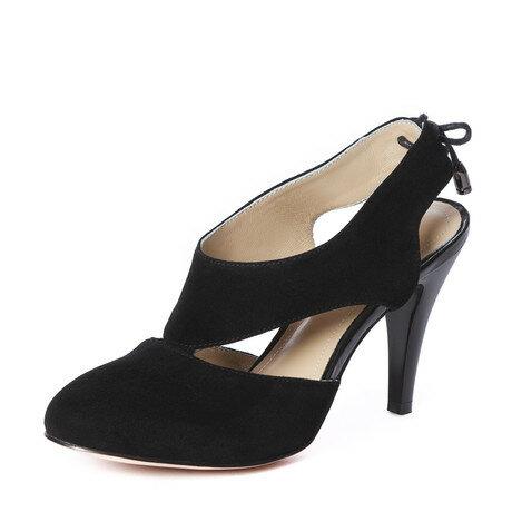 Женские черные летние  туфли велюровые