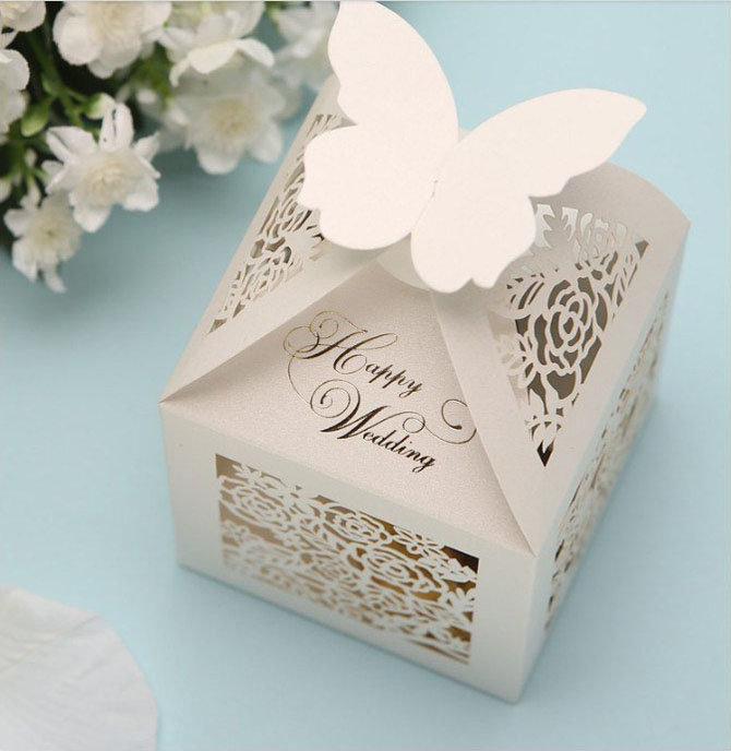 приглашение в коробке с бабочкой