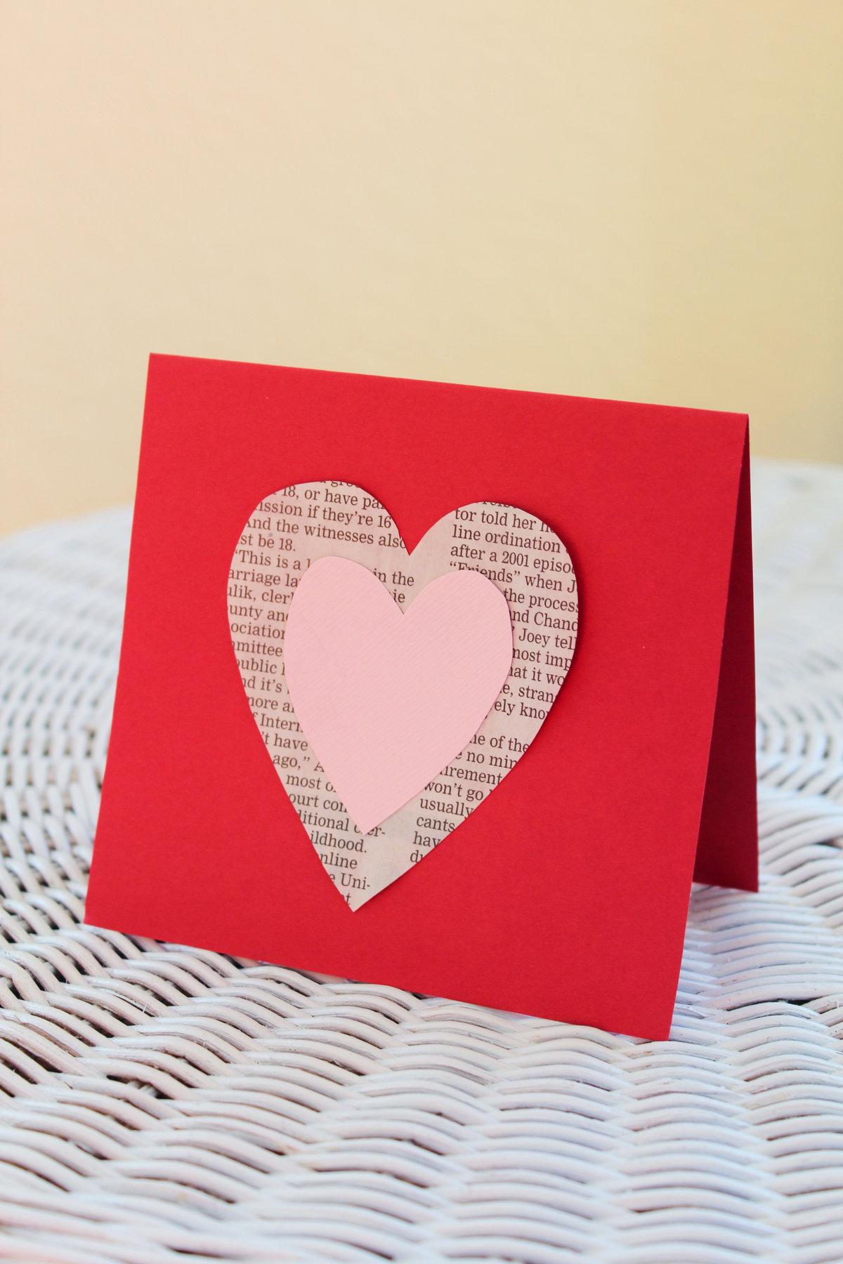 Самодельная открытка ко дню влюбленных, день святого валентина