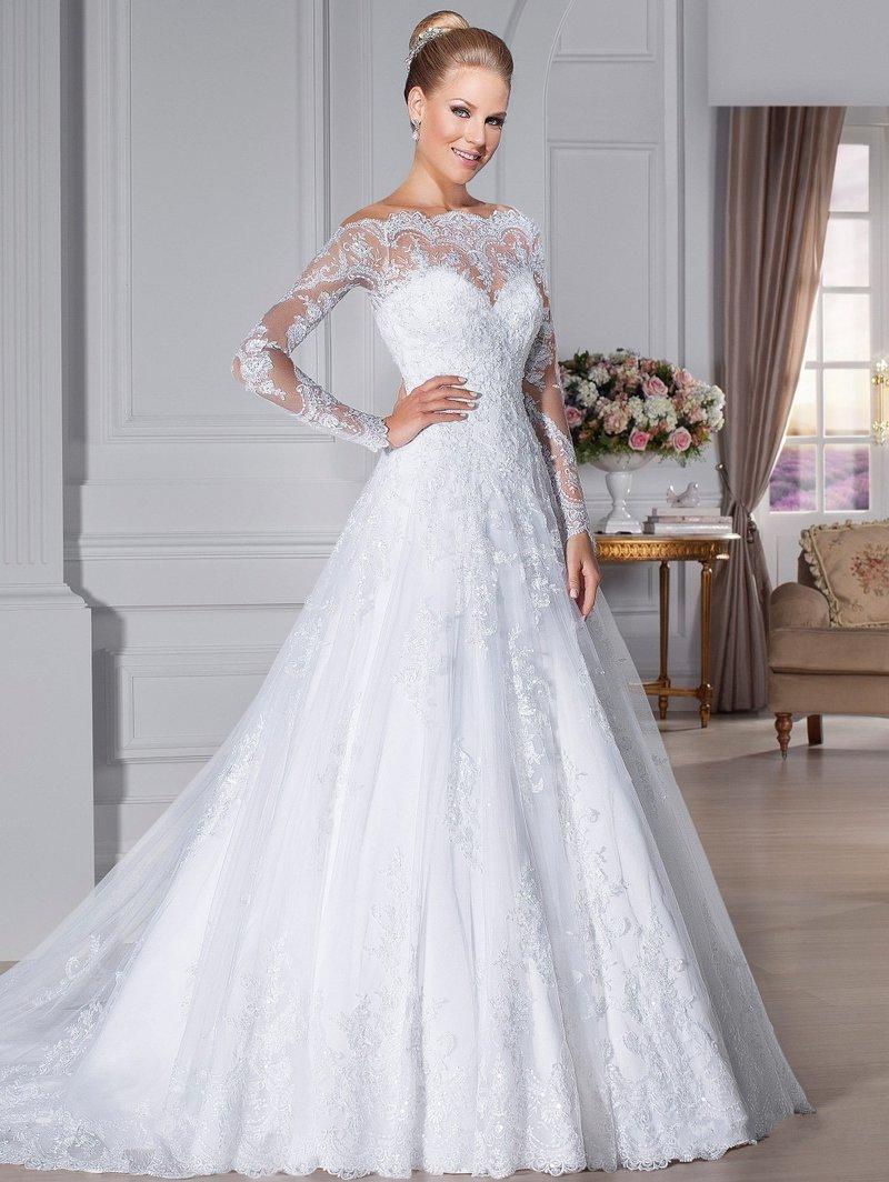 свадебное не пышное платье фото