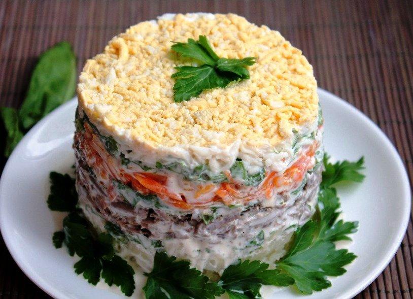 Печеночный салат классический рецепт с фото таком
